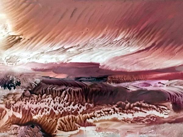 RED SKY OVER THE DESERT
